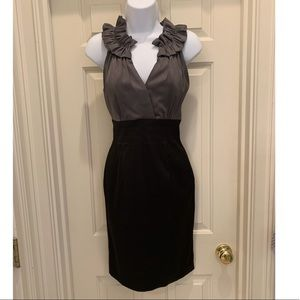 Donna Ricco Ruffle Neckline Dress Sz 4 Black Grey